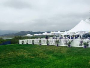 white picket fencing at Ojai Wine Festival